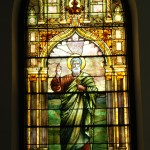 The St. Peter Window,  installed in 1892, designed and executed by Tiffany Studio, New York. A memorial to John M.G. Parker given by his wife. Cost $2248.